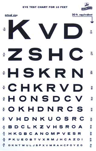 Ophthalmic Equipment Snellen 10 Ft Eye Test Chart Veatch