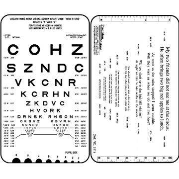 Adult Sloan Near Vision 2113 Test Card